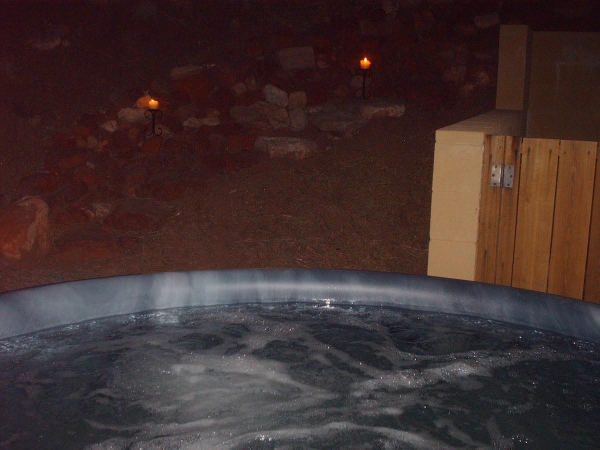 Hot tub with Zuni Stairs in background