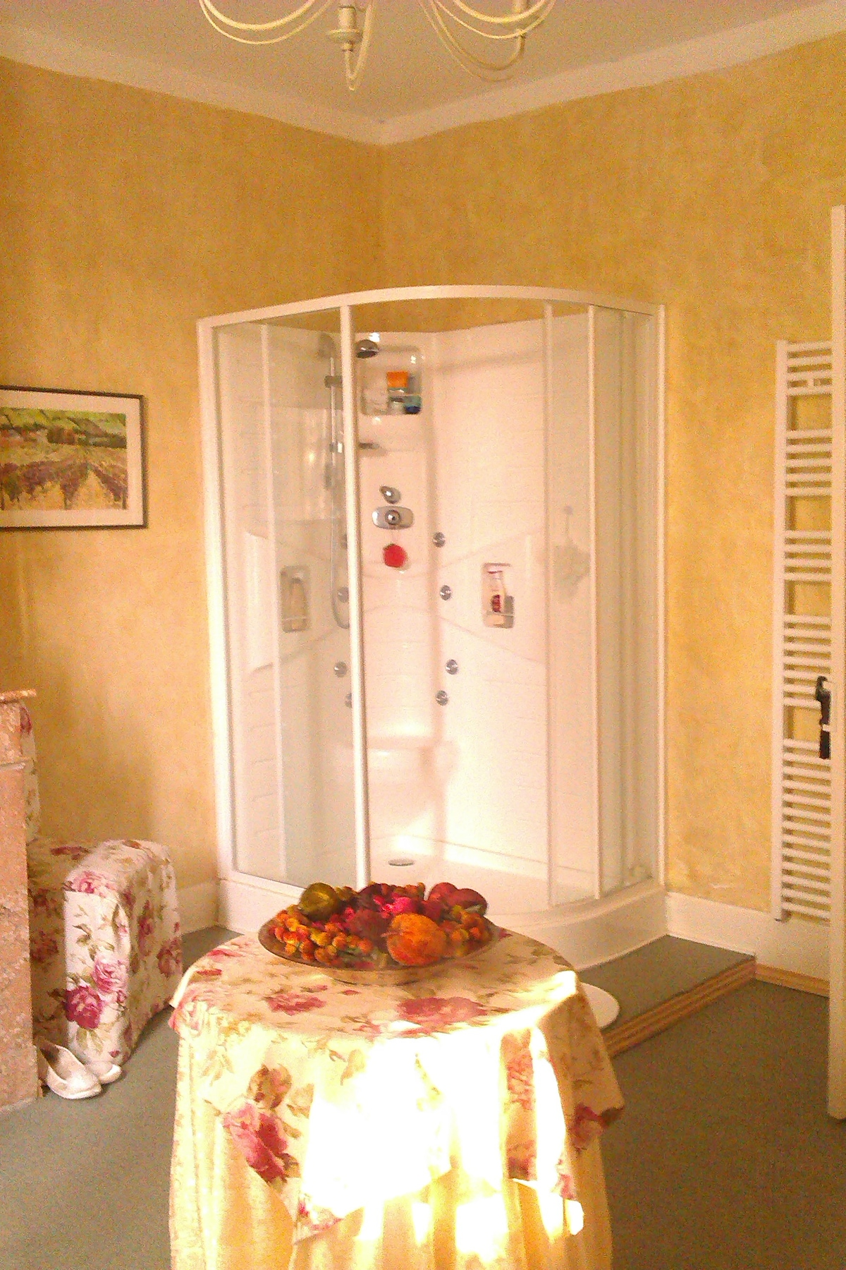Main bathroom complete with power shower is for guests use solely and is adjacent to the master bedroom.