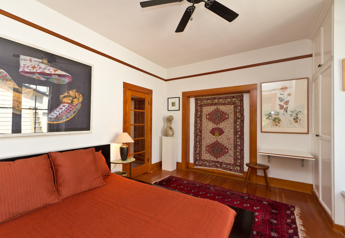 The king size master bedroom is spacious and comfortable.