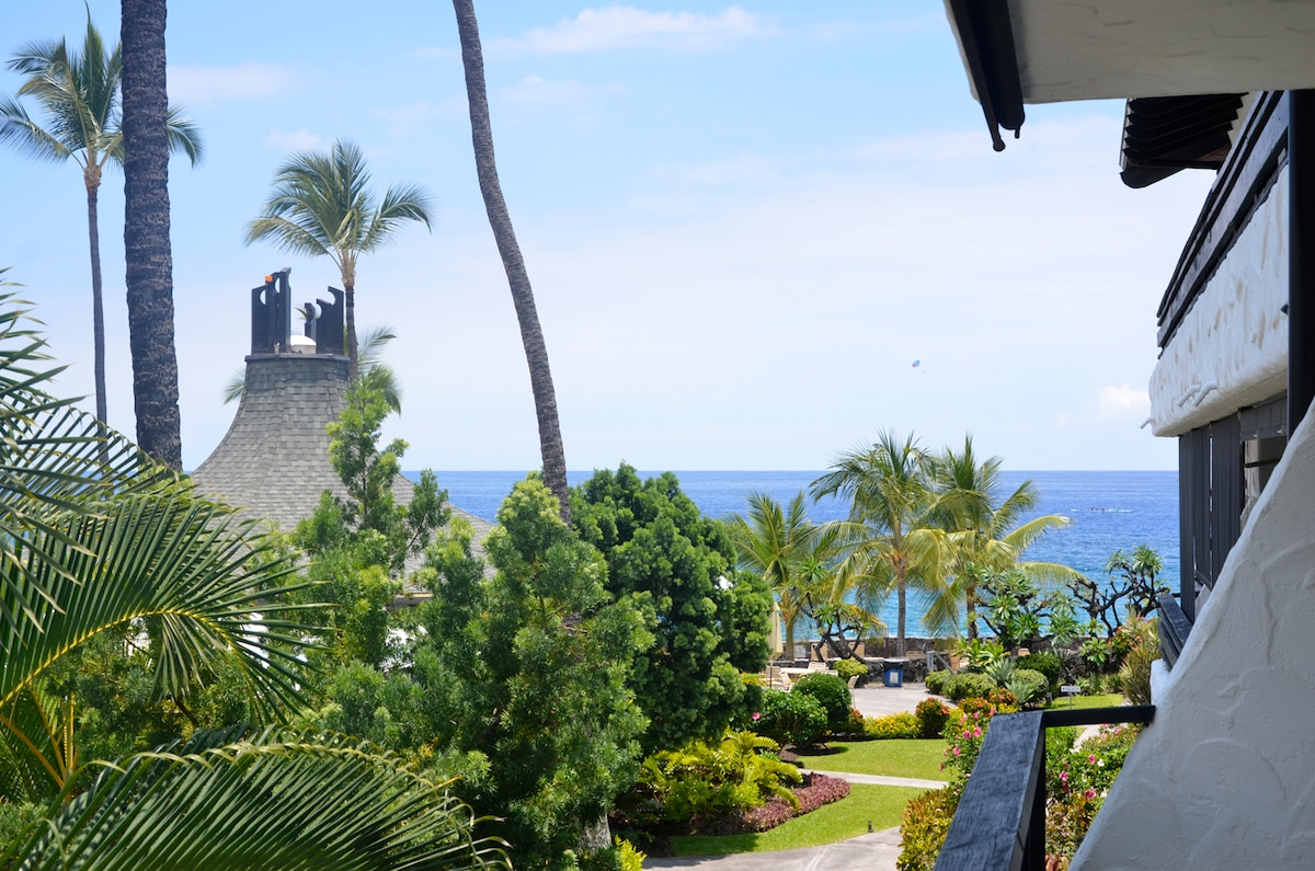 View of the ocean from our lanai, you can hear the ocean and the waterfall