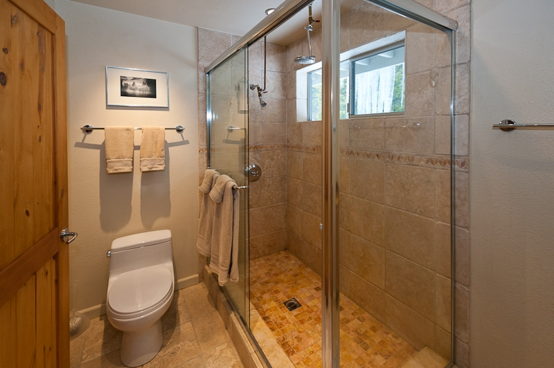 private bathroom has double headed walk-in shower with view of backyard forest