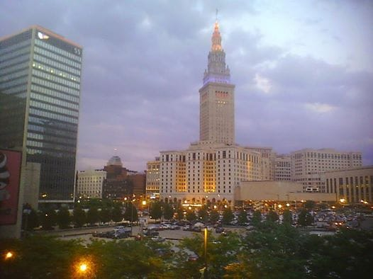Direct view of Cleveland's landmark Terminal Tower.