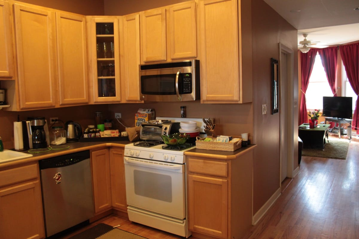 Enjoy a fully appointed kitchen w/coffee pot, microwave, toaster oven AND....