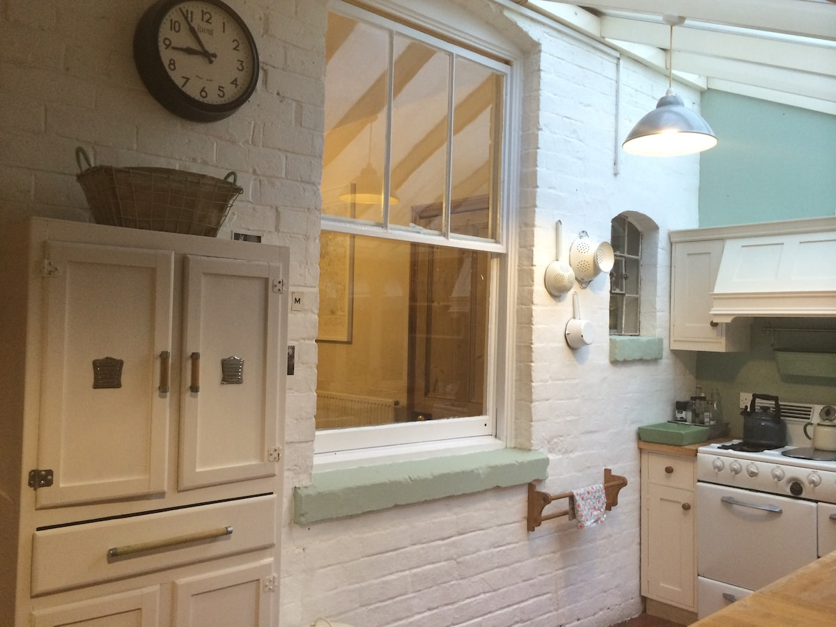 The kitchen: reclaimed 1960's french larder.