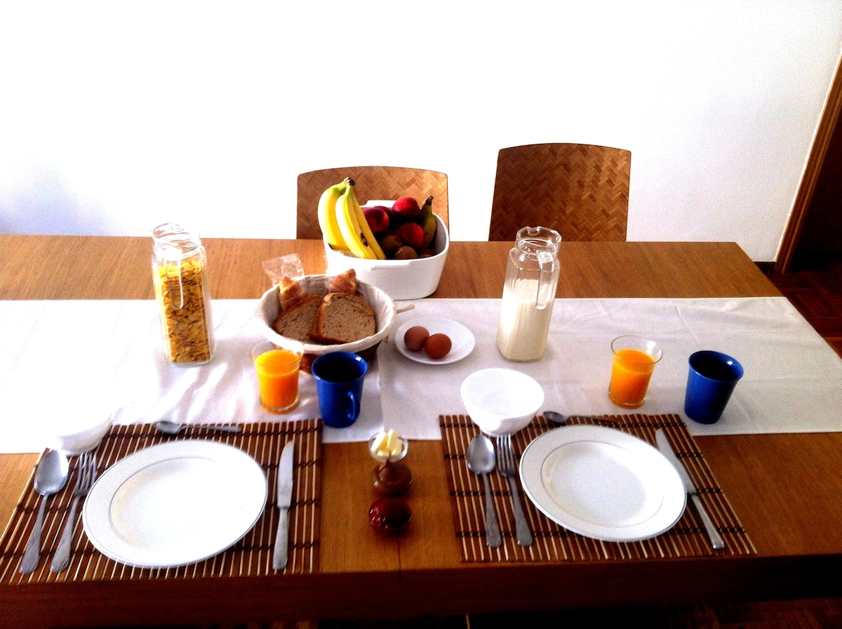 If you feel like waking up to the smell of coffee, toasted bread and freshly squeezed orange juice, we would be more than happy to provide you breakfast for extra cost of €4 EUR per person at a time that is convenient to you . Breakfast includes freshly s