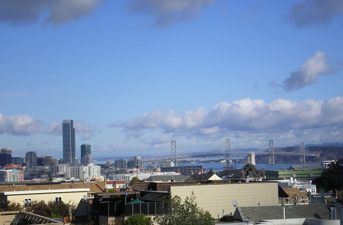 Panoramic bay and downtown views from every floor of Potrero Hill home.