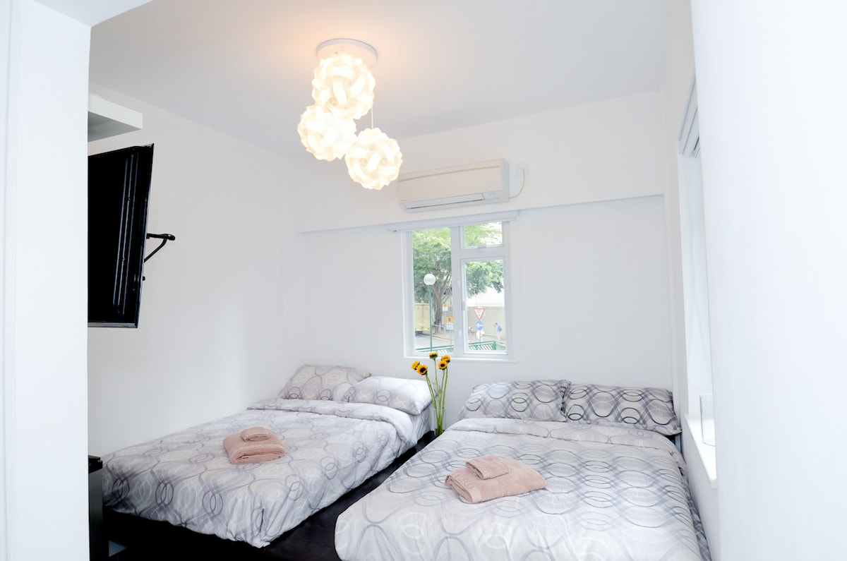 Master Bed Room with Attached Bathroom (2 set of 4x6ft solid bed with storage underneath, caters 4 person)