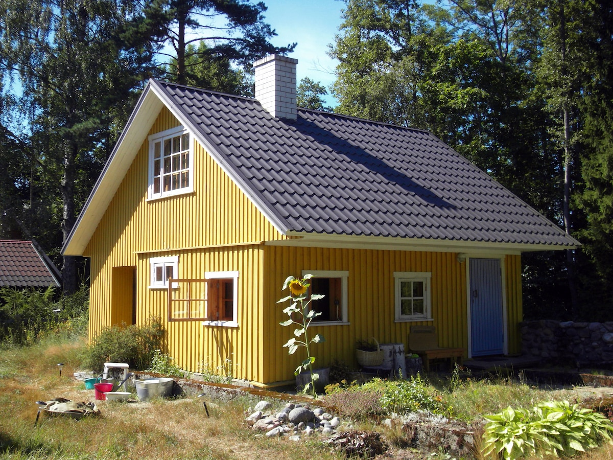 The smaller house (with sauna) at the summer cottage where you can have the whole house to yourself if you wish.