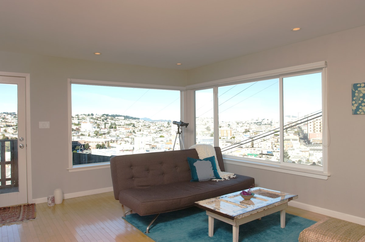 Living Room with a city view