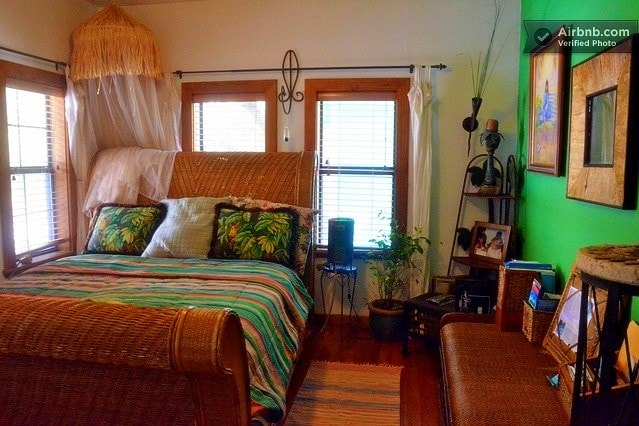 This will be your bedroom with a private bath across the hall and is downstairs with the tiki bar nearby!