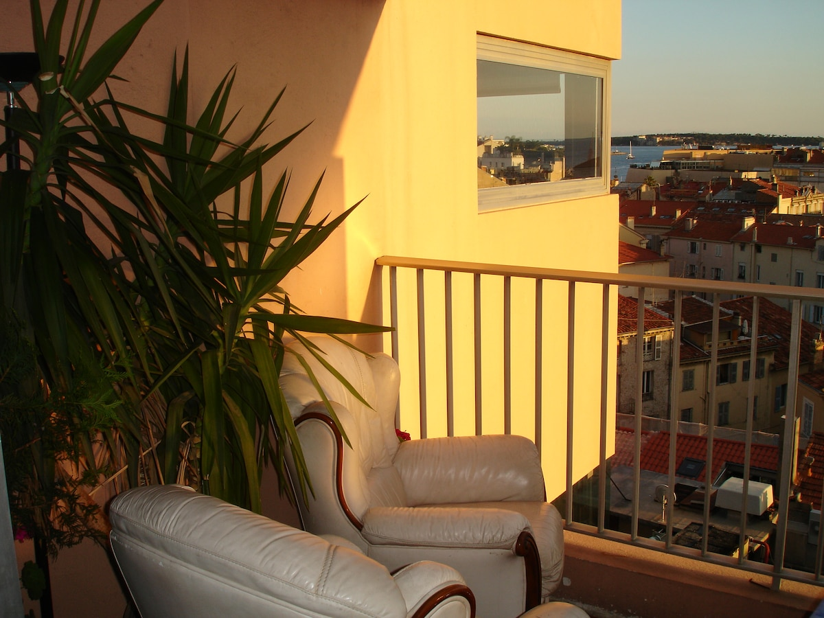 Cannes center, 180° sea view