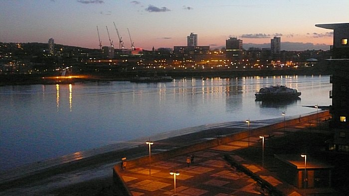 View south from the balcony; promenade (nearest), then River Thames,  (middle) then Woolwich (far distance). (Photo: Peter B Lloyd)