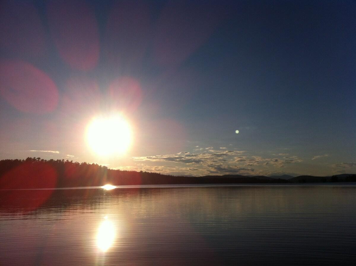 Sunset at Highland lake; 1-minute walk.