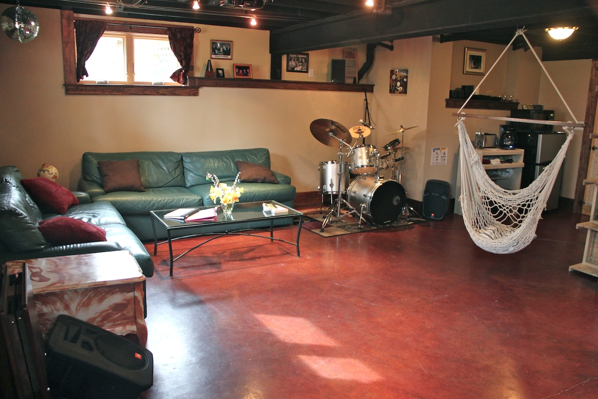 The living room.  Drumming is optional.