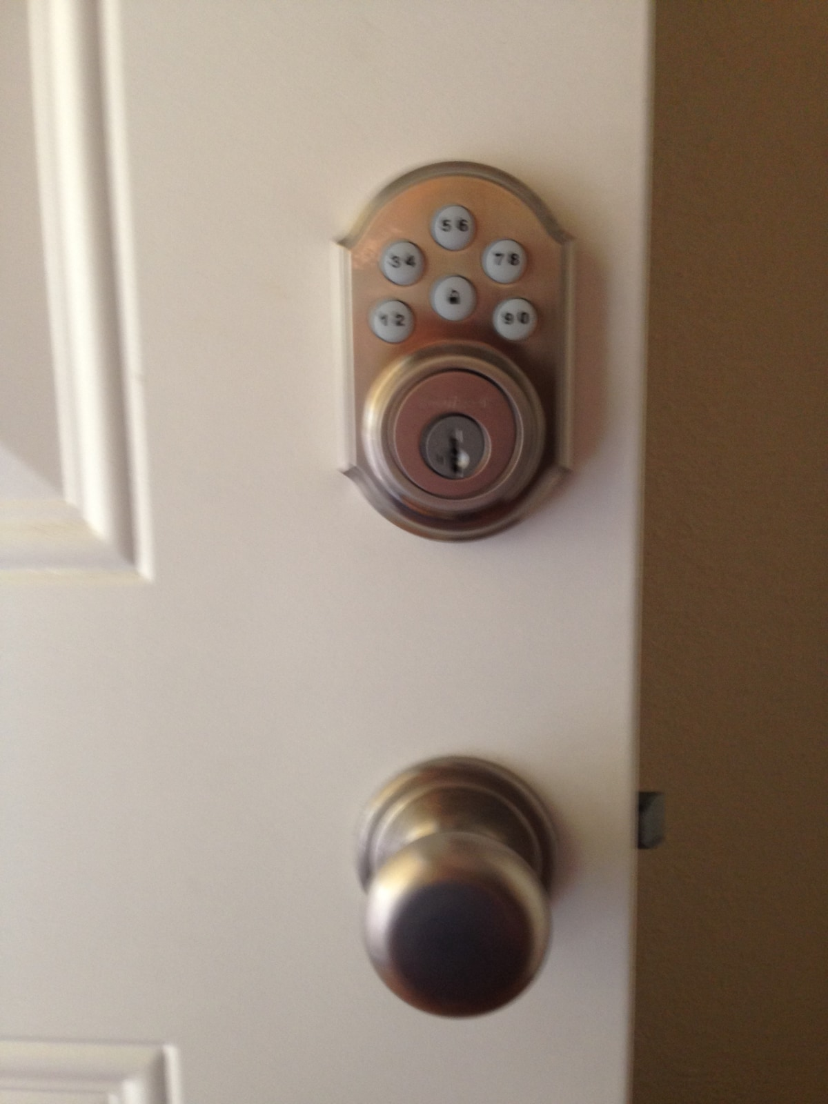 Our front door has a pin entry that makes it easy. No key exchange!