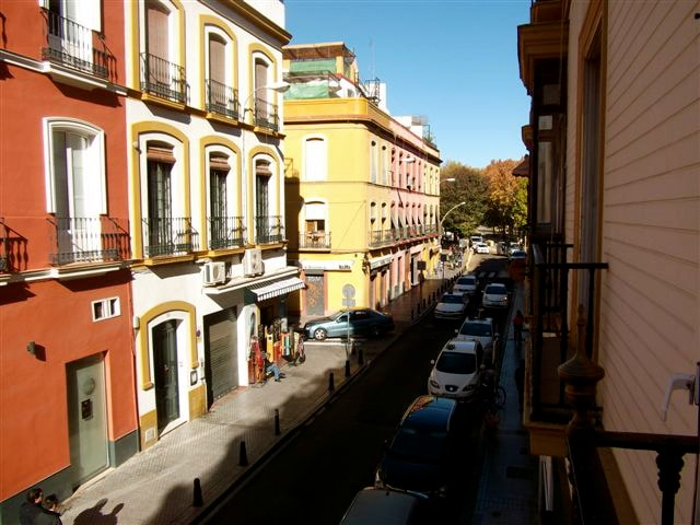 view from the apartment window overlooking this historic area--100m from Alameda de Hércules