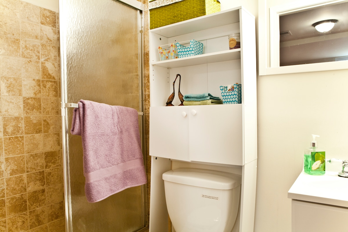 Your private bathroom - toiletries and towels are provided!