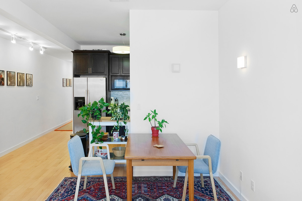 Dining room table expands to comfortably seat 6