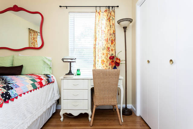 It's the perfect guest room with plenty of guest storage.