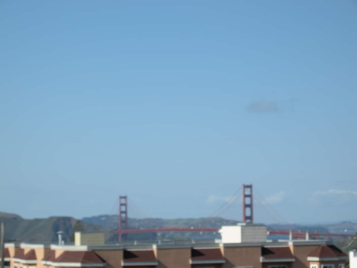 View of Golden Gate Bridge from Deck and living room