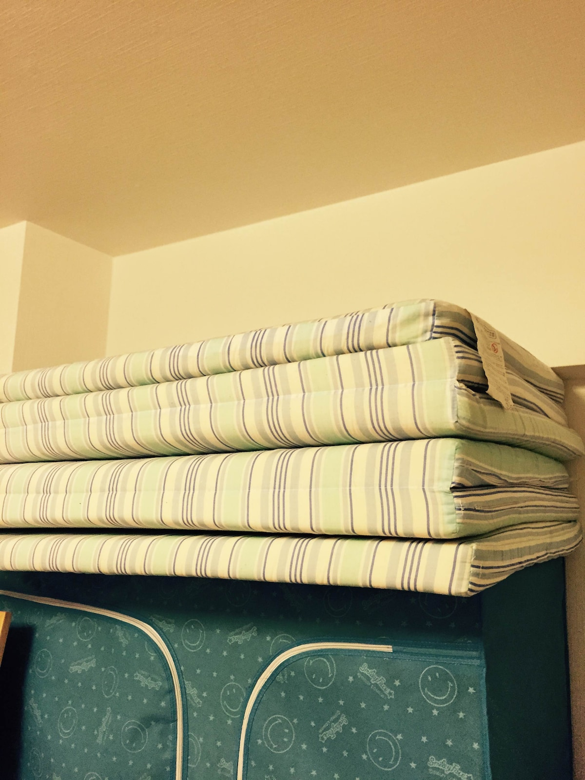 Guests use this mattress on the floor, this is very usual Japanese style! You have a clean sheet on the top!
