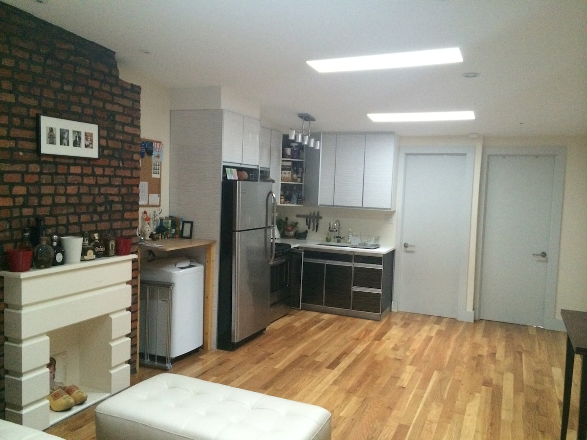 Living space and modern kitchen