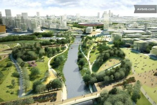 Stratford Olympic Park, 10 mins by car and 15 mins by tube.