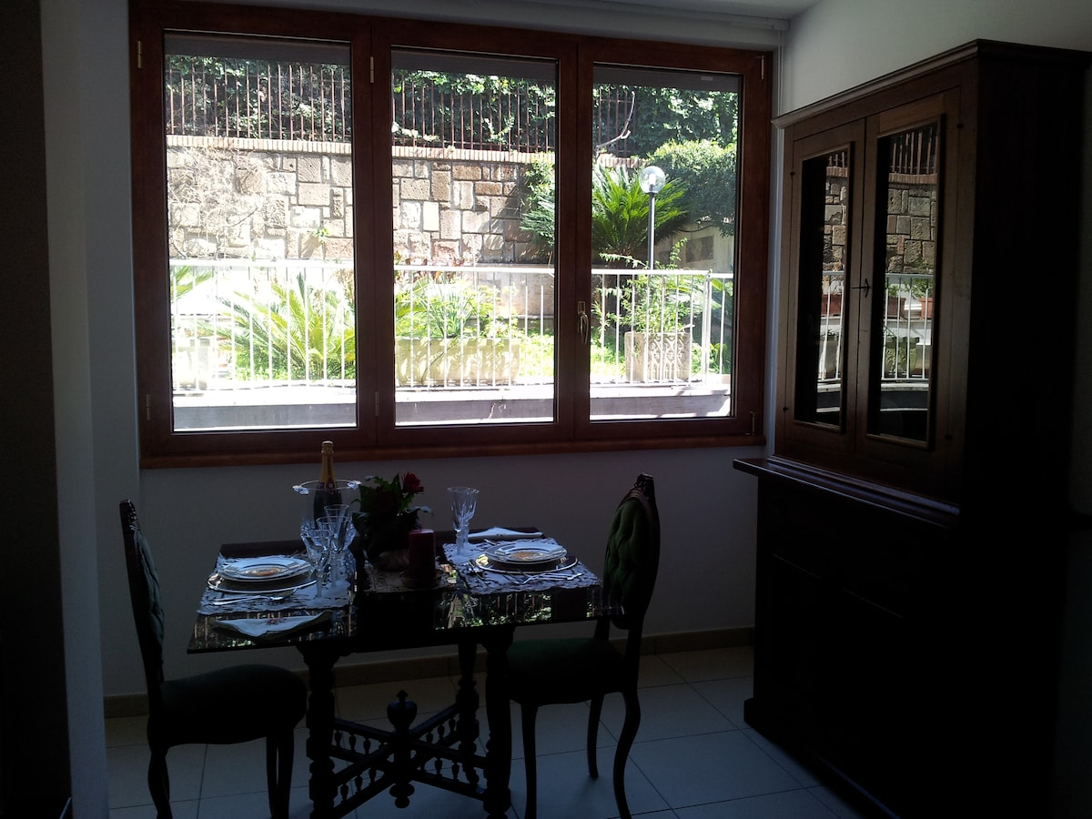Very bright dining area overlooking a green zone