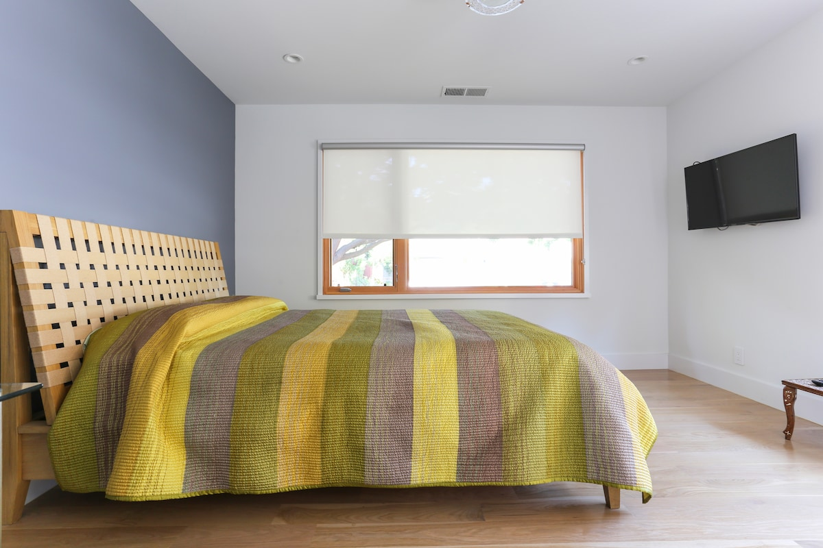 Comfortable bed with memory foam mattress and pillows