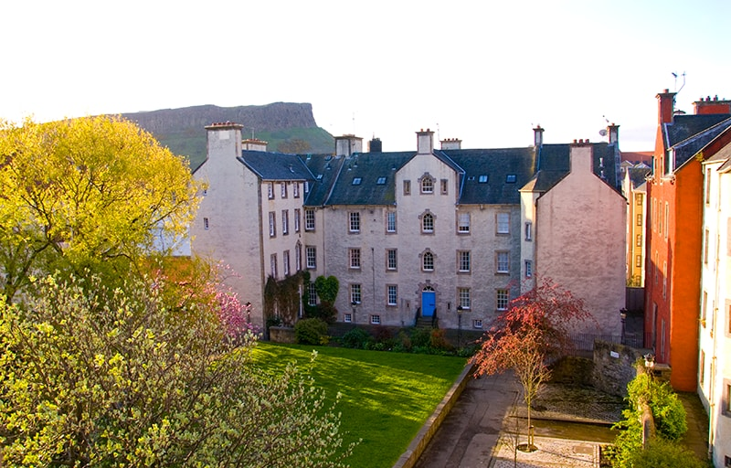 Morning view of Arthur's Seat and Chessels Court from your room windows.