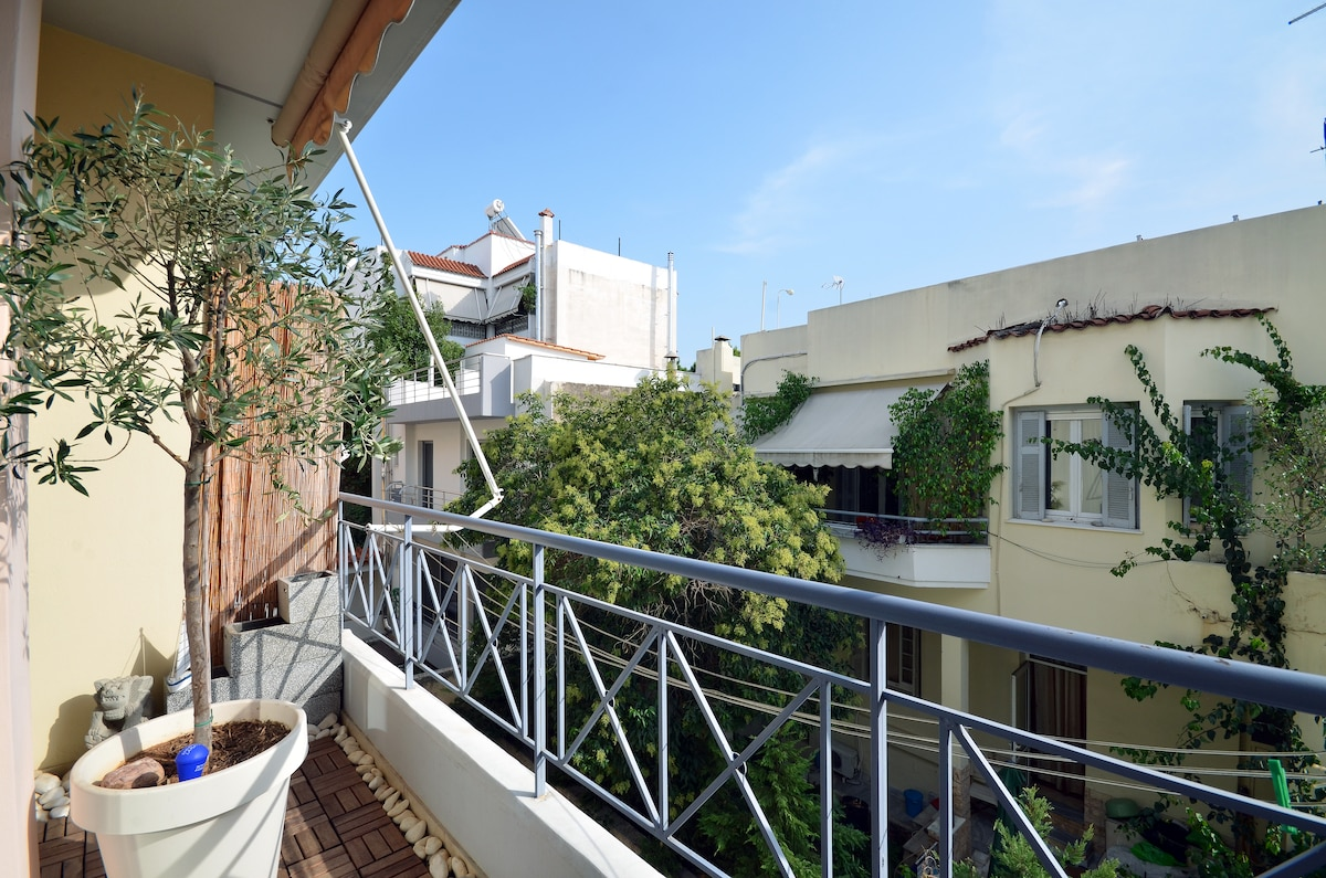 Sunny view from balcony, wooden deck