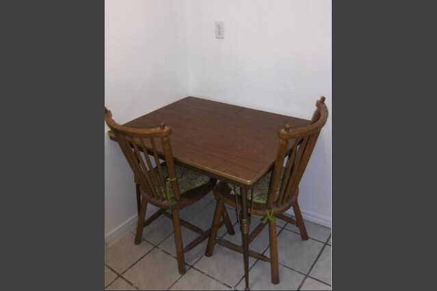 Dining table shared with another room.