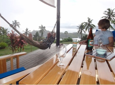 Relaxing and watch ing the weather come in after a busy day on the water with a well deserved local brew - Fiji Bitter