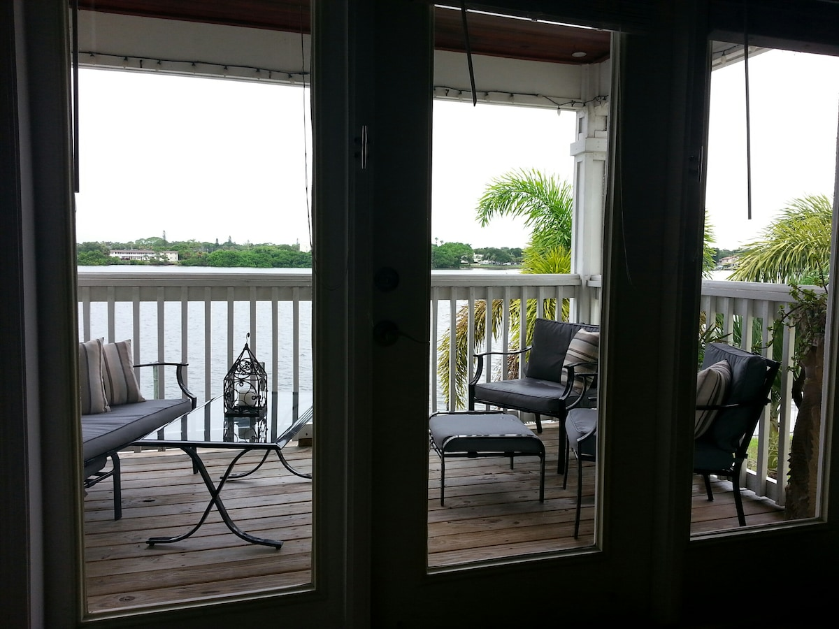 The patio that overlooks the docks and bay.  Look for the many dolphins that feed here  each morning and evening.