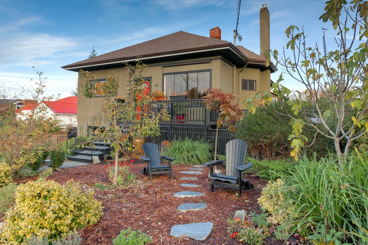 Private upstairs entrance in front. Path to fenced side yard and back entrance.