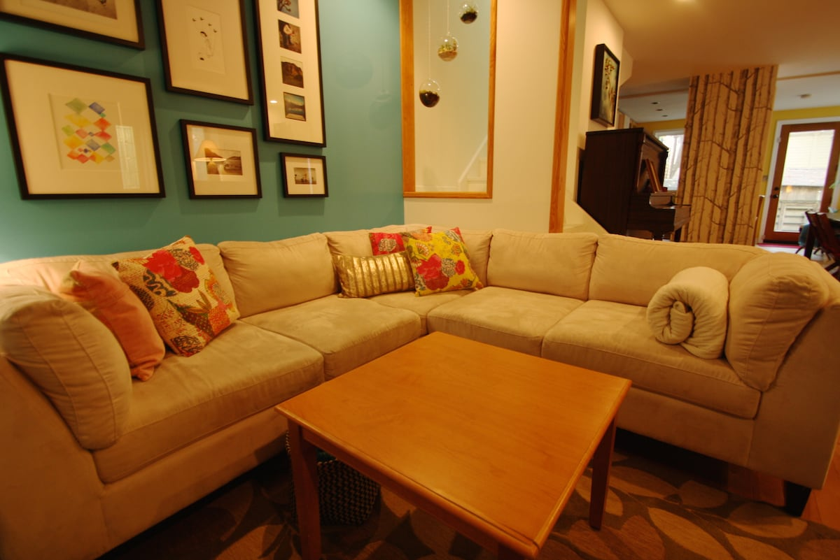 Living room: comfy sectional.
