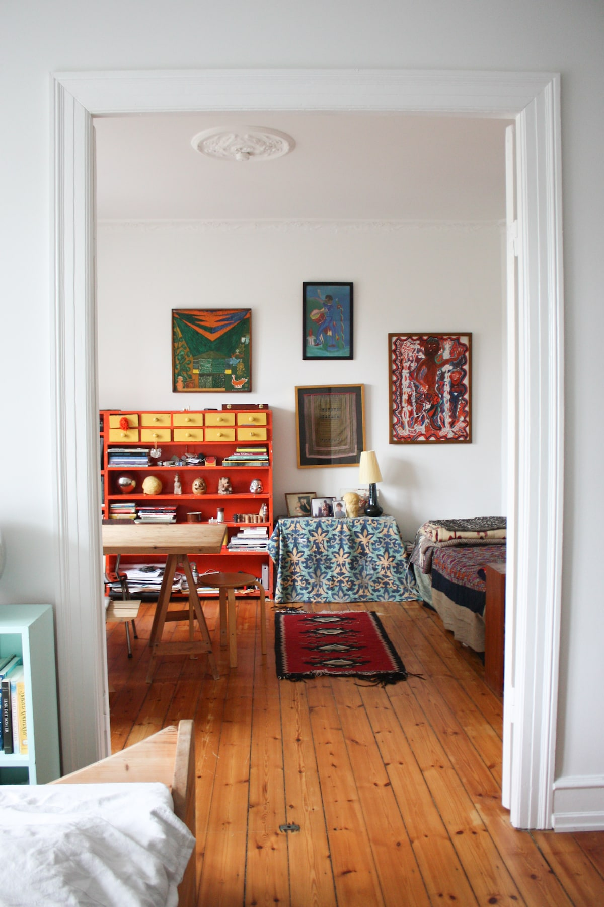 Bohemian charm in artists' home.