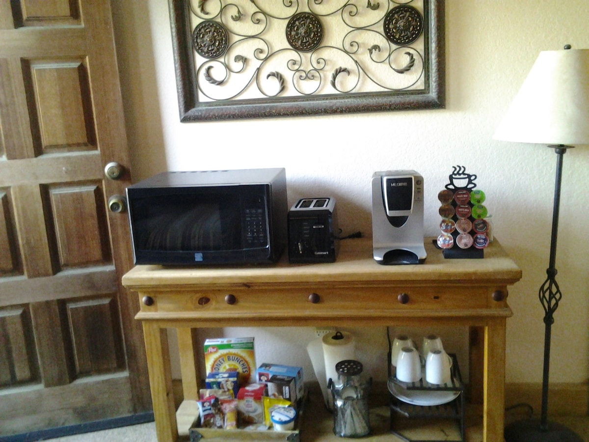 Microwave, toaster Single serve coffee maker, asst coffee and goodies