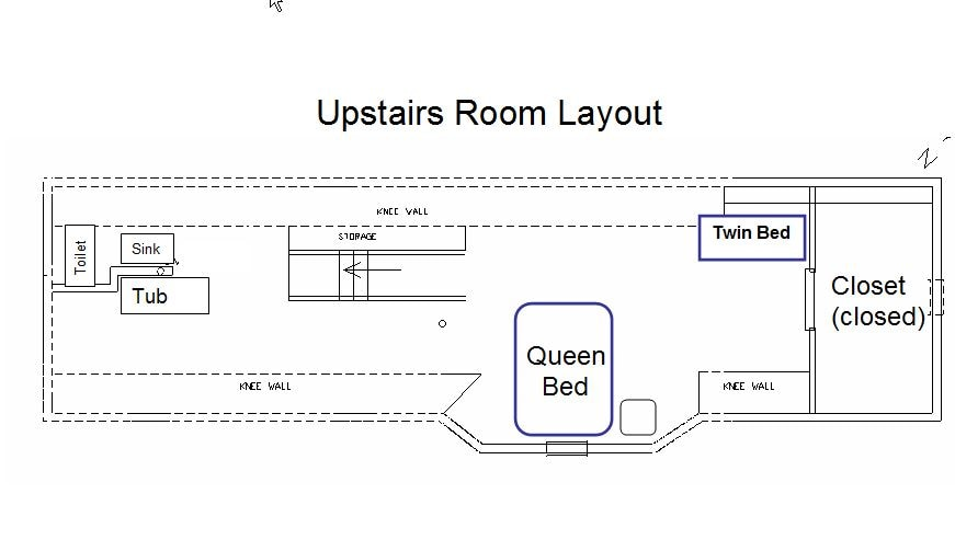 Here's your private room with queen and twin bed.  It's a VERY open floor plan with no barriers.  There's an additional (shared) bathroom downstairs with more privacy.