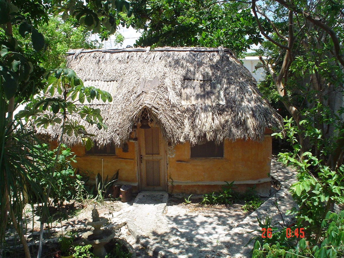 Casitas Kinsol Guesthouse in Puerto Morelos - near Cancun - Room #8 - View from the yard - An authentic Mayan hut with a thatched roof -
