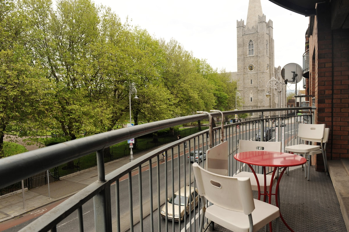 The balcony overlooking St. Patrick's Cathedral Park.
