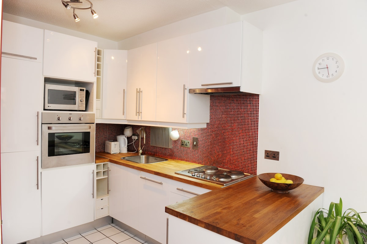 Kitchen.  Fully equipped with fridge freezer, oven, microwave, dishwasher, hob and washing machine.