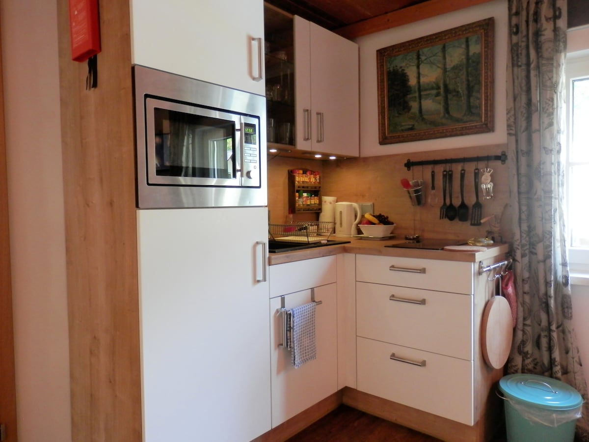 Fully equipped kitchen with microwave/oven, fridge, ceramic stove, toaster, kettle, coffee maker and much more.