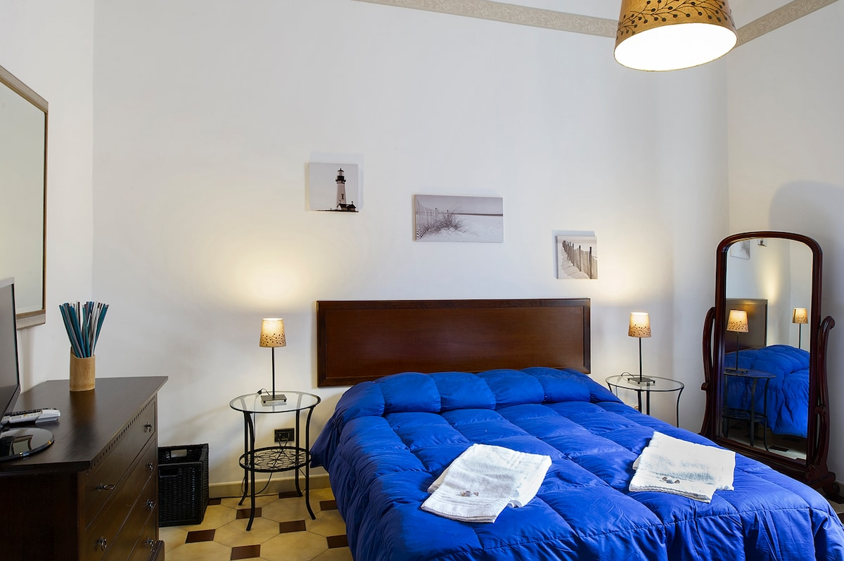 Aquarius: suite of 20 square meters, with free Wi-Fi, private air-conditioning, Digital LED TV, antique furnishing, private external bathroom of 4 square meters. Available for up to three guests.