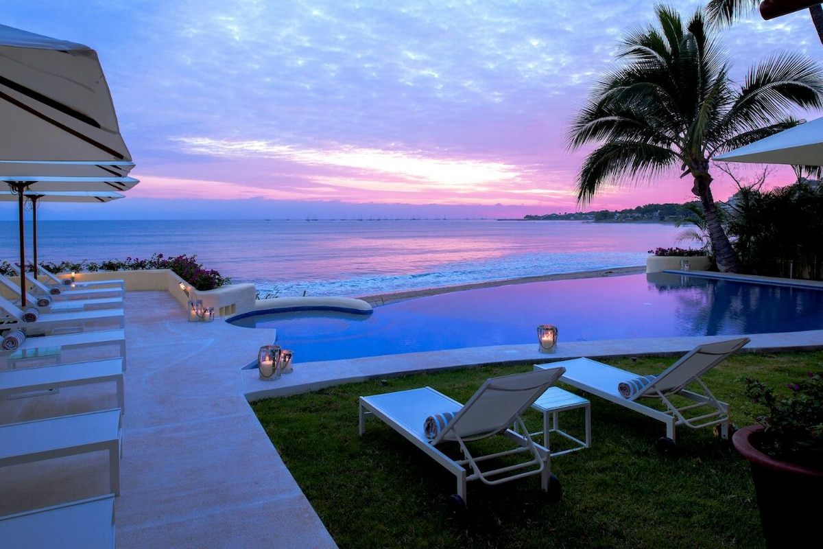 5 master bedrooms beach front house