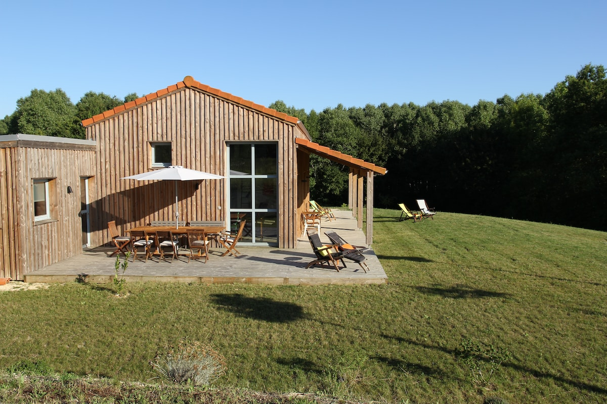 Modern wooden house in Dordogne