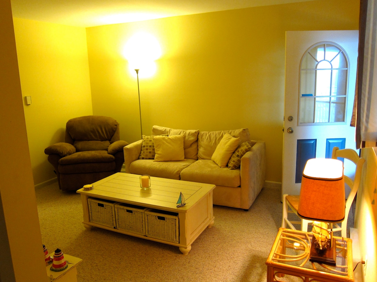 Another view of the living room- the couch is a fold-out bed for extra kids!