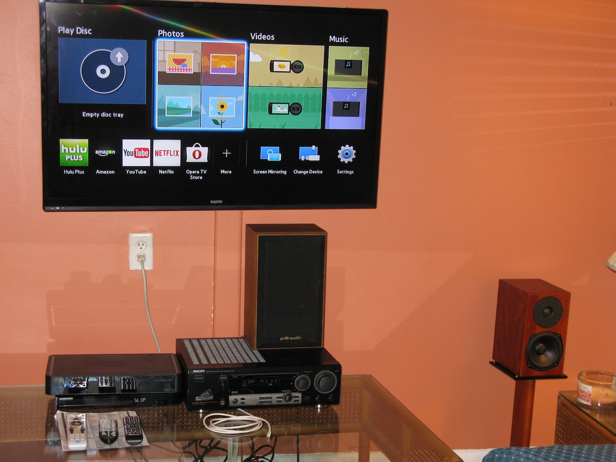 Living room has magnificent surround sound for music, TV, Spotifly, DVR, games etc