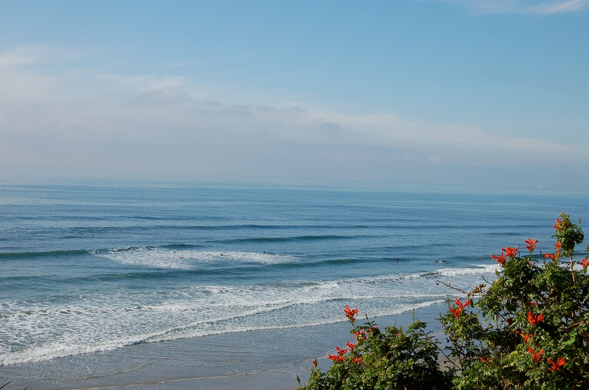 Our stunning sandy beach is perfect for long strolls, swimming, or surfing.