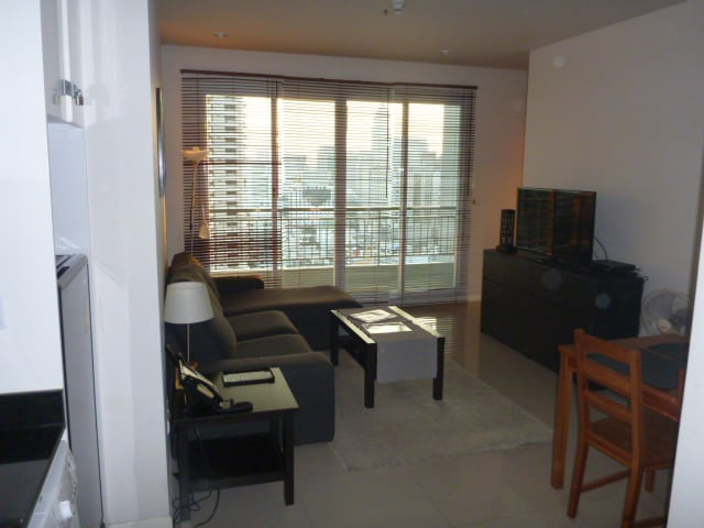Entrance of apartment with an excellent view of the city.